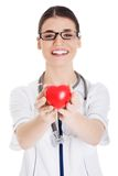 Female doctor with stethoscope holding heart model.  royalty free stock photography