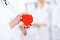 Female doctor with stethoscope holding heart. Two doctors standing in the background royalty free stock images