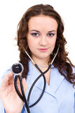 Female doctor with stethoscope isolated Royalty Free Stock Photo