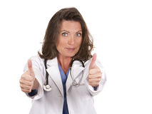 Female doctor thumbs up Royalty Free Stock Images