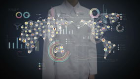 Female doctor touching digital screen, connected people, using communication technology. with economic diagram,chart,graph. Female doctor touching digital stock video footage