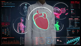 Female doctor touching digital screen,  Female body scanning blood vessel, lymphatic, heart, circulatory system in digital display. Dashboard. Blue X-ray view stock video