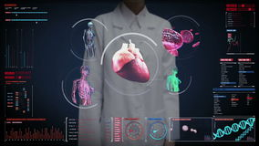 Female doctor touching digital screen,  Female body scanning blood vessel, lymphatic, heart, circulatory system in digital display. Dashboard stock footage