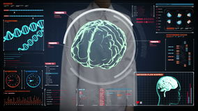 Female doctor touching digital screen, Scanning Brain in digital display dashboard. X-ray view stock video