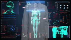 Female doctor touching digital screen, Scanning robot cyborg body in digital interface. artificial intelligence.