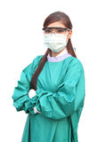 Female doctor wearing a green scrubs Royalty Free Stock Images