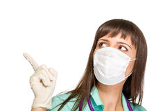 Female doctor wearing surgical mask Stock Photo