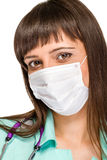 Female doctor wearing surgical mask Stock Images