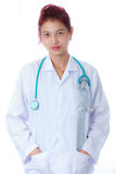 Female doctor on white background Royalty Free Stock Image