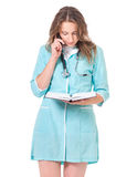 Female doctor on white Royalty Free Stock Images