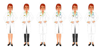 Female doctor in white coat and skirt or trousers Royalty Free Stock Photos