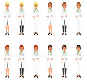 Female doctor in white coat and skirt or trousers Royalty Free Stock Photography