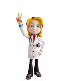 Female doctor with win pose Stock Images