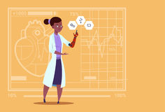 Female Doctor Working With Robotic Hand Artificial Limb Medical Clinics Worker African American Hospital. Flat Vector Illustration Royalty Free Stock Images