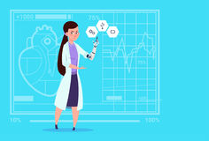 Female Doctor Working With Robotic Hand Artificial Limb Medical Clinics Worker Hospital. Flat Vector Illustration Stock Photo