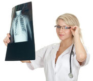 Female doctor with x-ray chest, lungs Stock Photos