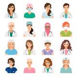 Female doctors and nurses avatars set. Medicine avatars set with female doctors and nurses vector icons isolated on white Royalty Free Stock Photo