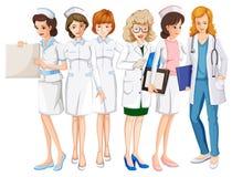 Female doctors and nurses in uniform. Illustration Royalty Free Stock Photos