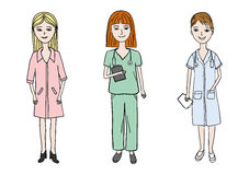 Female doctors set. Three young woman dressed in medical uniform wearing sthetoscopes, women doctor profession set, drawn by hand in vector, vector eps 8 Stock Image