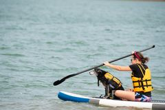 Female with a dog on the paddle board royalty free stock photo