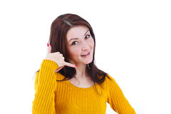 Female doing a call me sign Stock Photos