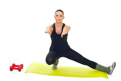 Female doing fitness exercise Stock Images