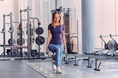 Female doing squats in a gym. The full body image of sporty female holds dumbbells and doing squats in a gym club stock images