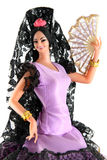 Female doll from Majorca. Dancing flamenco on a white background Stock Images