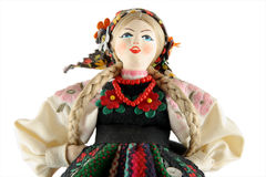 Female doll from Poland. On a white background Royalty Free Stock Image