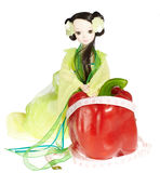 Female doll and red pepper,concept of diet and hea Royalty Free Stock Photography