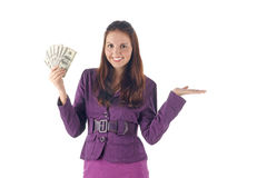 Female with dollars presenting things... Stock Images