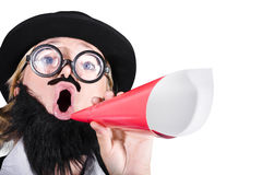 Female Dressed As A Man Shouting Through Megaphone Stock Photo