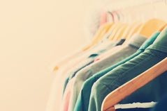 Female Dresses on Clothes Rail. Toned Royalty Free Stock Photos