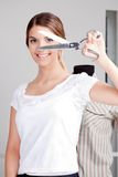 Female Dressmaker Holding scissors Stock Images