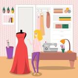 Female dressmaker sewing elegant red dress for her customer. Vector illustration, colorful design element for poster or banner Stock Image