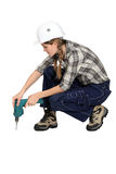 Female drilling floor Royalty Free Stock Photo
