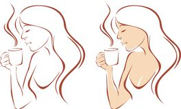 Female drinking coffee Stock Images