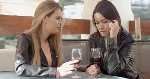Female drinking with crying friend stock video footage