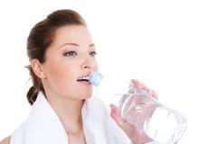 Female drinking water Stock Photo