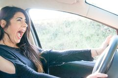 Female driver in a bad situation Royalty Free Stock Image