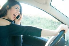 Female driver in a bad situation Royalty Free Stock Photo