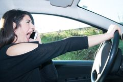 Female driver in a bad situation Stock Image