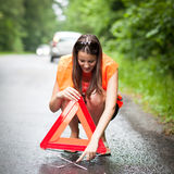 Female driver after her car has broken down Stock Photos