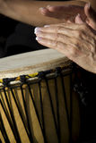 Female Drummer. Hands of female drummer playing drums Royalty Free Stock Photos