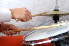 Female Drummer in action Stock Photo