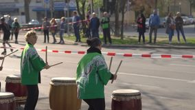 Female drummers band play outdoors stock video
