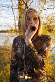 Female Duck Hunter Calling Stock Photography
