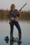 Female Duck Hunter with decoys Stock Images
