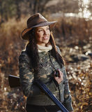 Female duck hunter Royalty Free Stock Images