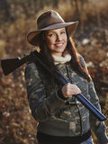 Female duck hunter Royalty Free Stock Photo